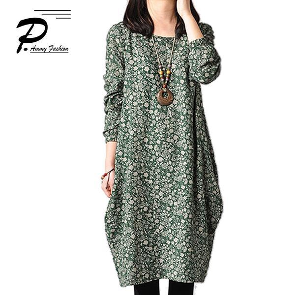 Floral Patterned Cotton & Linen Long Sleeves Tunic